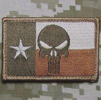 PUNISHER SKULL TEXAS STATE FLAG DESERT TACTICAL VELCRO® BRAND FASTENER PATCH