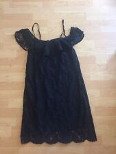 Gold Hawk Little Black Dress Size M 100% Silk Lace Cold Shoulder Casual