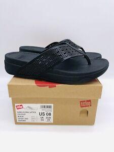 FitFlop Women's Floral Lattice Surfa Leather Slide Sandal - Black US 8M / EUR 39