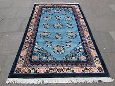VECCHIO Tappeto fatto a mano tradizionale Cinese Orientale Tappeto Lana Blu 248x153cm