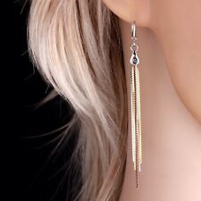 """9ct 9K White Yellow & Rose """"Gold Filled"""" Ladies Extra Long Earrings. 80mm , Gift"""