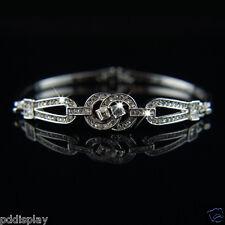 14k white Gold plated with Swarovski crystals classy bangle bracelet