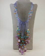 *ONE OF A KIND* AMETHYST MULTI STONE BEAD STERLING SILVER NECKLACE