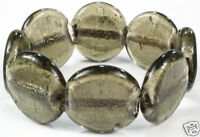 SMOKE murano SILVER FOIL grey brown GLASS BEAD BRACELET chunky beads SMOKY