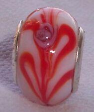White Red Pink Flower Rose Murano Glass European Bead for Silver Charm Bracelets