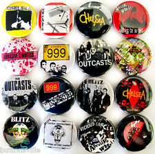 999 ABRASIVE WHEELS BLITZ OUTCASTS CHELSEA Pins Button Badges Punk Oi! Lot of 16
