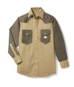 Rasco FR  Green//Khaki FIRE RESISTANT Work Shirts 2 XL NWT