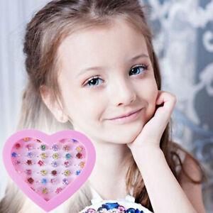 36Pcs/Box Girl Child Adjustable Kids Rings Set Crystal Ring Diamate Cute Jewelry