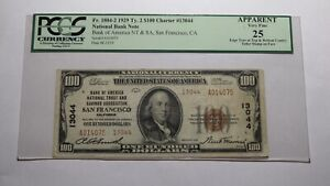 $100 1929 San Francisco CA National Currency Bank Note Bill Ch. #13044 VF25 PCGS