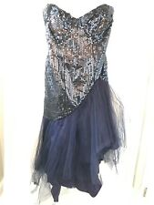 Vintage Loralie Sequin Bling Prom Dress Large Plus Blue 14 Dance Party Formal