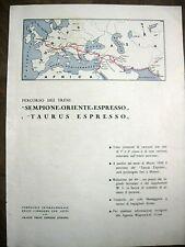 1938 PUBBLICITA FERROVIA TRENO SEMPIONE TAURUS ESPRESSO COOK MAPPA 38x28