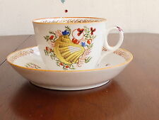Antique Newhall Porcelain Shell Pattern Cup & Saucer c.1810