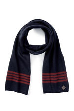 "Cole Haan Rugby Stripe Muffler Scarf, 70""L, 10""W, acrylic, blazer-zinfandel, red"