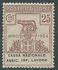 1924 REGNO PARASTATALI CASSA NAZIONALE LAVORO 25 CENT MNH ** - M39