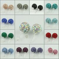 1Pair Sparkle Blink Czech Crystal Round Disco Ball Silver Stud Earrings 8mm 10mm