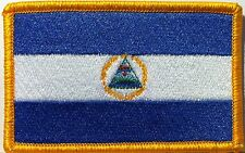 NICARAGUA FLAG Patch With VELCRO® Brand Fastener Latin Emblem Gold ARMY Version