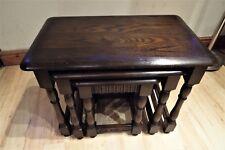 Solid oak nest of tables vintage,  Tiger oak pattern, free world delivery.
