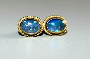 FINE PAIR OF 9CT GOLD FIERY NATURAL OPAL DOUBLET EARRINGS. STUDS.