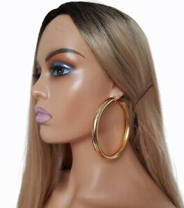 Gorgeous! HUGE! GOLD tone CHUNKY oversized PLAIN shiny hoop earrings 9cm * NEW *