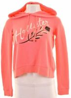 HOLLISTER Womens Hoodie Jumper Size 6 XS Pink Cotton Oversized  IE18