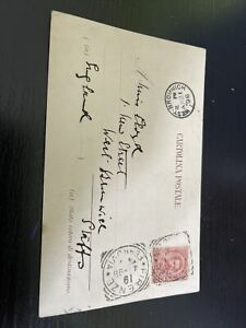 Italy  Stamp Postmarks Postcard History 1898 To England  10 Cent