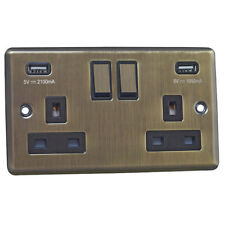 Antique Brass 13A Sockets Raised/USB Charging/Light Switches/Dimmers/Cooker/FCU
