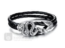 Men's Snake Design Stainless Steel Braided Leather Bracelet Bangle - USA Seller