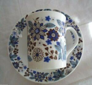 RETRO VINTAGE CARNABY ELIZABETHAN FINE BONE CHINA TEA CUP COFFEE MUG SAUCER blue