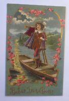 Behüt You Gott, Musketeer, Trumpet, Boat, 1906, Embossed Postcard (22753)