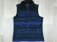 Womens Vintage CHAPS Blue and Black Vest Fleece Size L