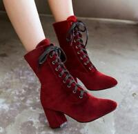 Womens Lace Up Pointed Toe Faux Suede Ankle Boots Block High Heel Shoes