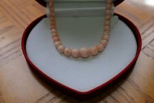 """Angel Skin Coral Bead Nacklace 24"""" 14k Gold"""