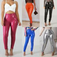 Womens Ladies Pvc Leather High Waist Pu Leggings Wet Look Stretch Trousers Pants