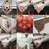 yazi Dining Table Runner Embroidered Flower Tassel Cutwork Home Decorative Cover