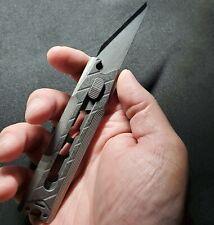 Custom Large Edc razor blade w/ Titanium scales utility knife Clip w/ Tritium