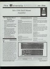 Rare Original Factory University Sound Altec MA 1506 Amplifier Dealer Sheet Page
