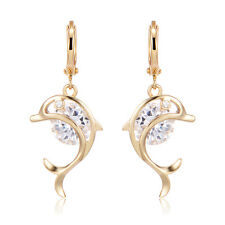Dolphin With Clear CZ Leverback Hoop Earrings Womens Vintage Cute Jewelry