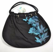 Split SHADE Black Blue Floral Screenprint Hobo Tote Bag Women's Purse
