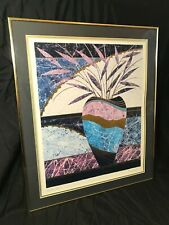 "Steven Norte Hand Signed ""Golden Vase 2"" Gold Metallic Print Collage Framed"
