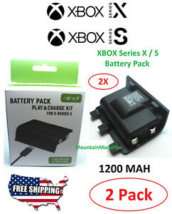 2X XBOX Series X Rechargeable Battery Pack Microsoft Wireless Controller 1200Mah