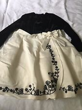 girls 18 months 2T long sleeve dress black white floral flowers dressy holiday