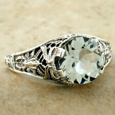 GENUINE GREEN AMETHYST 925 STERLING SILVER ANTIQUE STYLE RING SIZE 6,       #983