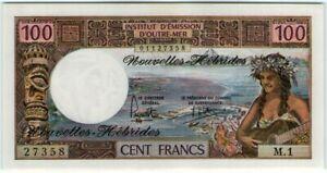 Nouvelles Hebrides New Hebrides 100 Francs 1977 🔸UNC🔸 Banknote - k193