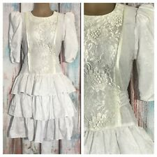 New listing Vintage 80s Juniors White Wiggle Dress With Layered Ruffles Size 7