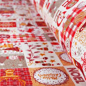 Tessuto al Metro Cotone a Fantasia Natalizia Quadri Rosso Babbo Natale h.280 cm