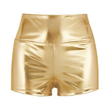 Womens Shiny High-waisted Shorts Bottoms Sports Pants Club Dance Booty Shorts