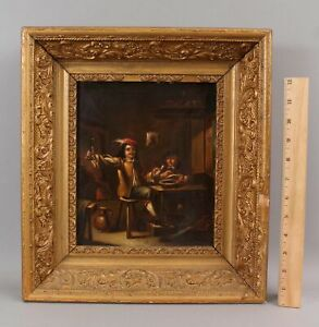 19thC Antique Flemish Genre Oil Painting, Wine Vintner Connoisseur Winemaker NR