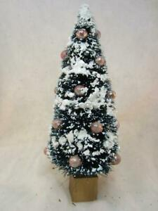 "*VTG 9"" Bottle Brush Tree Flocked, Mica, Pink Mercury Glass - Village, Putz"