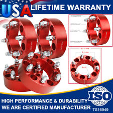 "4X 2"" 50mm Red Thick 6x5.5 14x1.5 Wheel Spacers For Chevy Silverado 1500 14-2018"
