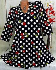 NAVEED Tunika Bluse Kleid Shirt Top Lagenlook A Linie Schwarz Bunt L  42 44